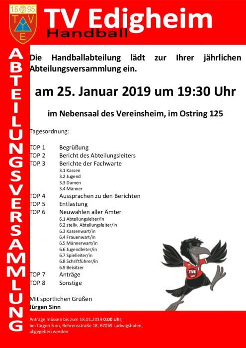 Abteilungsversammlung am 25. Januar 2019 um 19:30 im TVE Vereinsheim